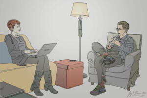 Lynsey G interviews Tina HorPencil & Digital Color. Illustration for editorial publication by Jayel Dracon  (nerve.com)